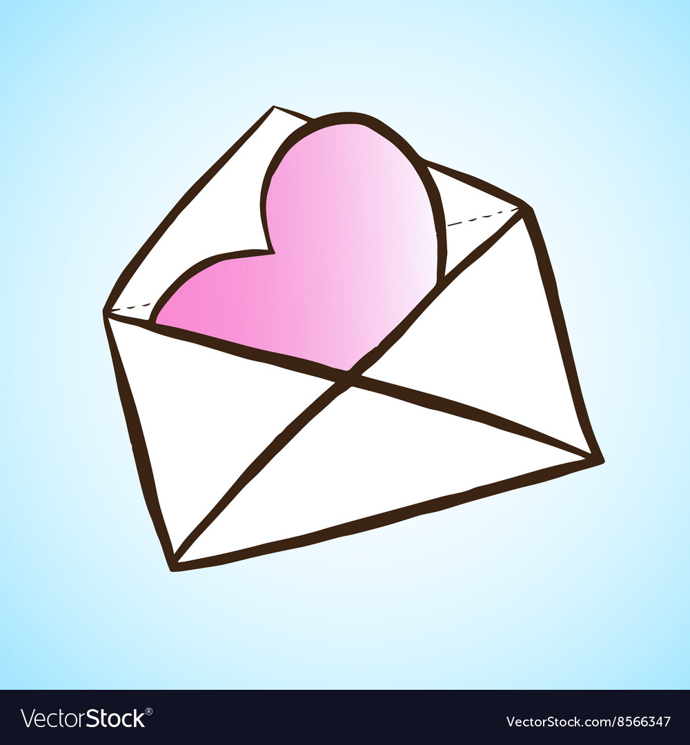 Opened letter with heart hand drawn vector