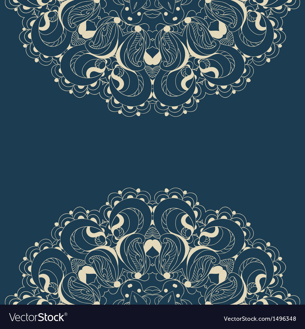 Beautiful blue lace pattern background vector