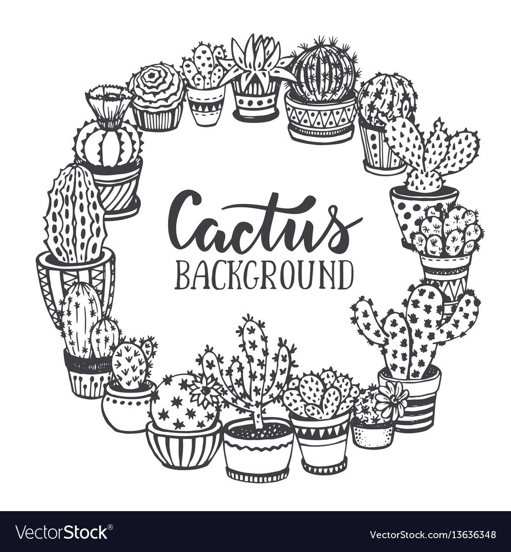 Frame with hand drawn cactuses in sketch style vector