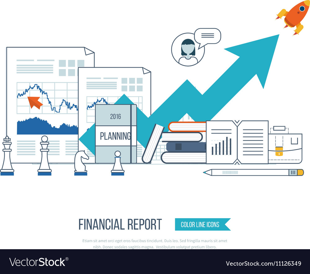 Financial report consulting teamwork management vector