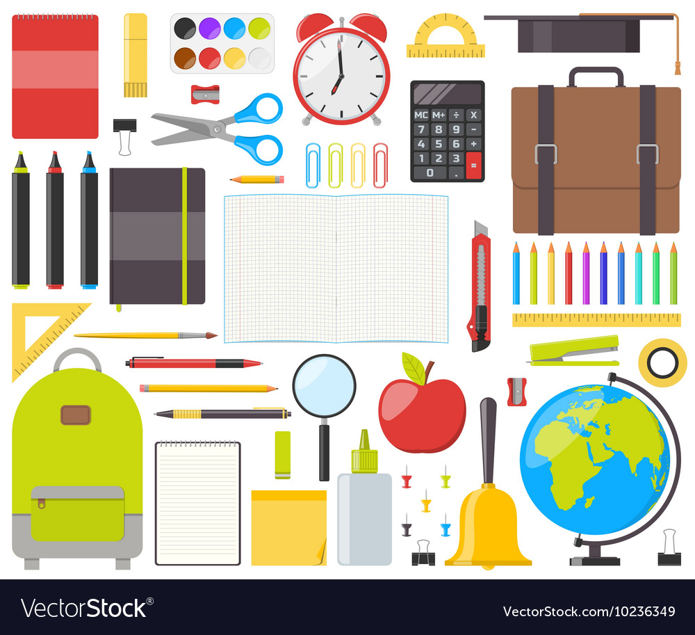 Set of isolated school supplies vector