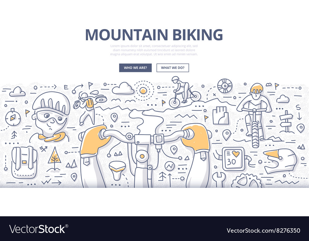 Mountain biking doodle concept vector