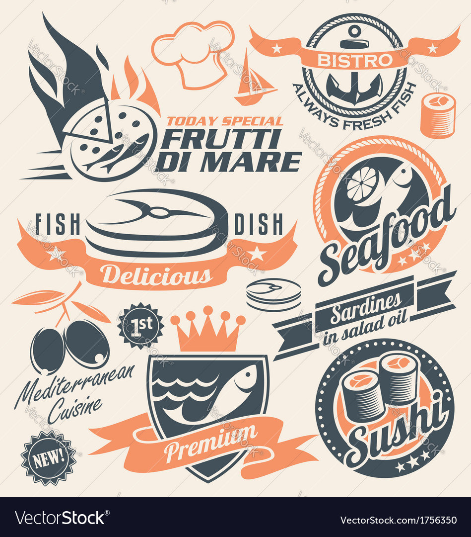 Seafood and fish icons signs symbols and logos vector