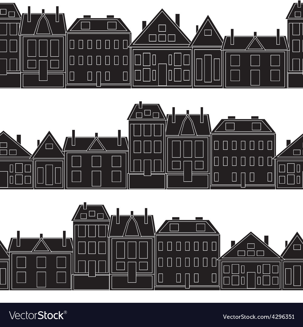 Houses seamless pattern vintage vector