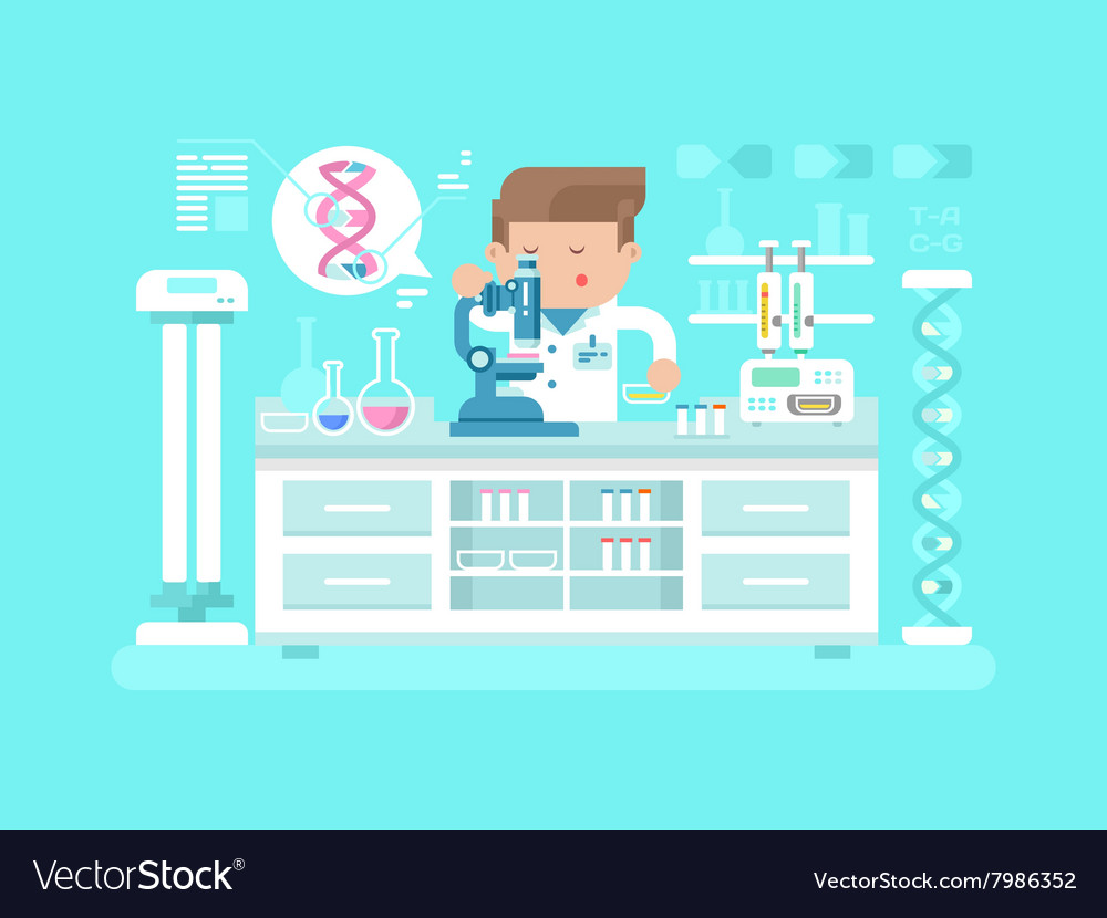 Genetics doctor man vector