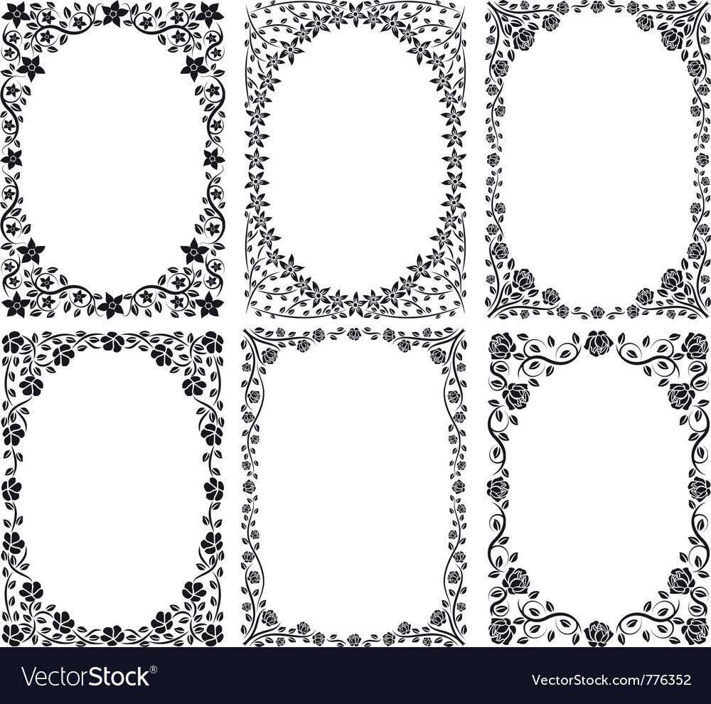 Silhouette of frames with floral decoration vector