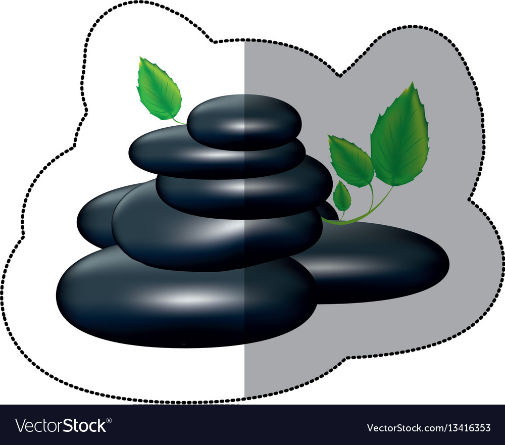 Color spa volcanic rocks with leaves icon vector