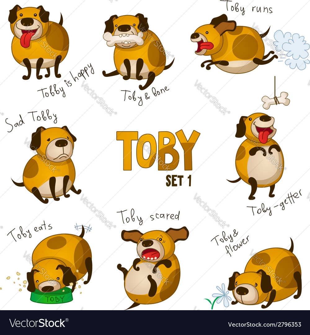 Cute cartoon dog toby set 1 vector