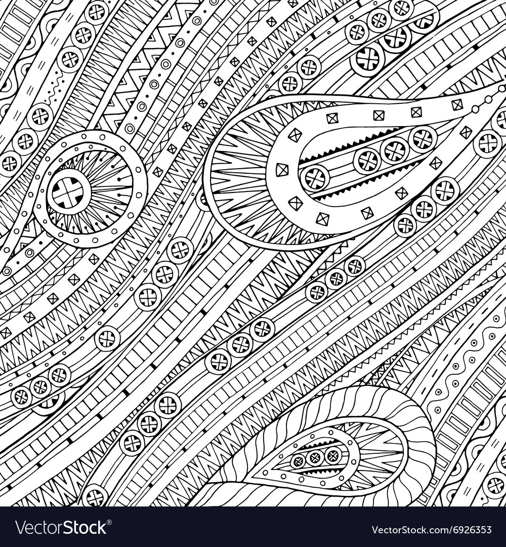 Doodle background in with ethnic pattern vector