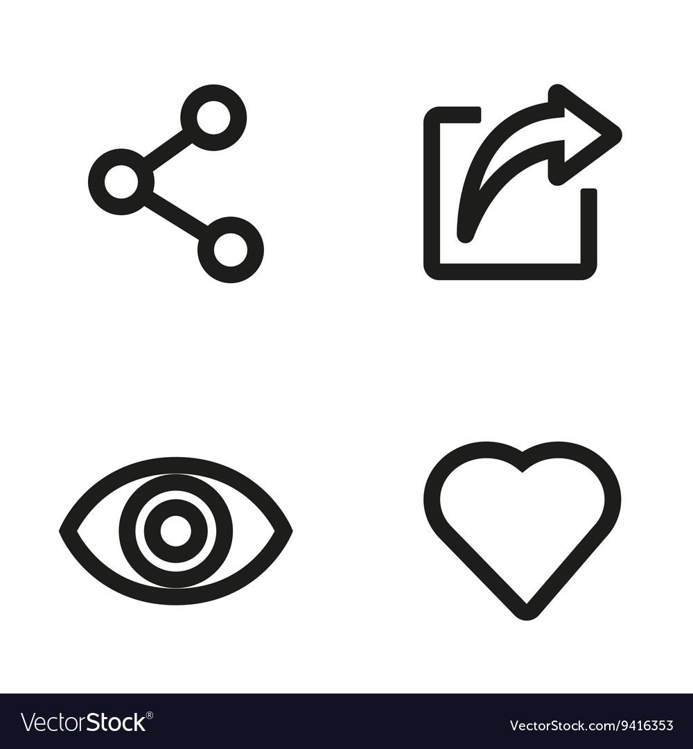 Line like share view icon set vector
