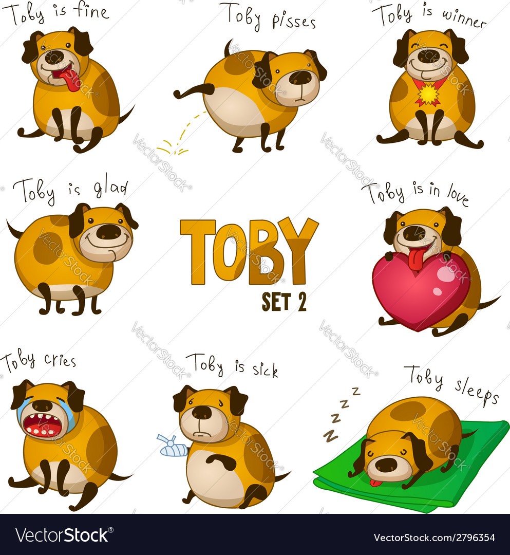 Cute cartoon dog toby set 2 vector