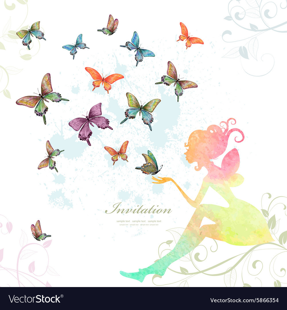 Greeting card with fairy with butterflies vector