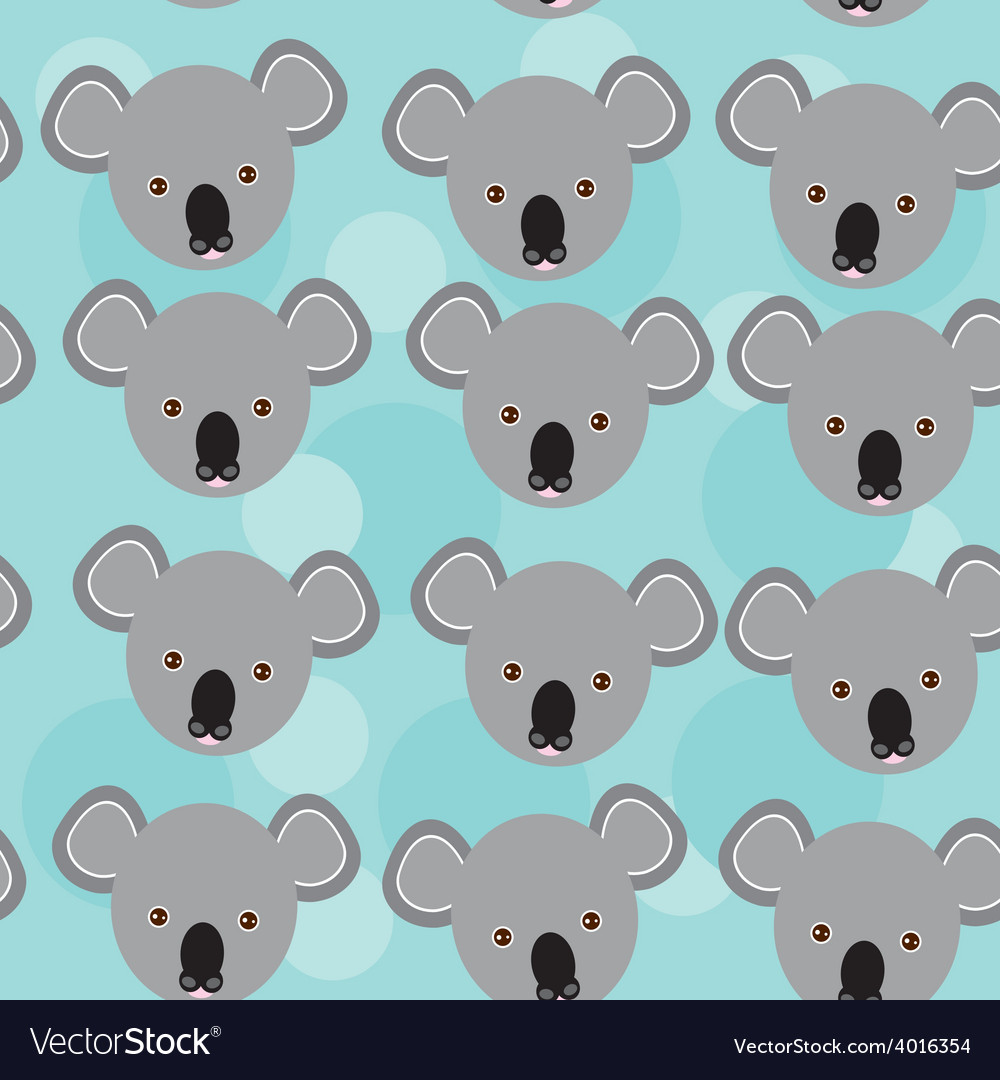 Koala seamless pattern with funny cute animal face vector