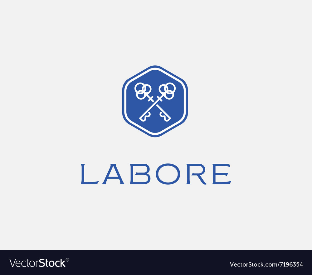 Real estate logotype keys hexagon logo icon vector