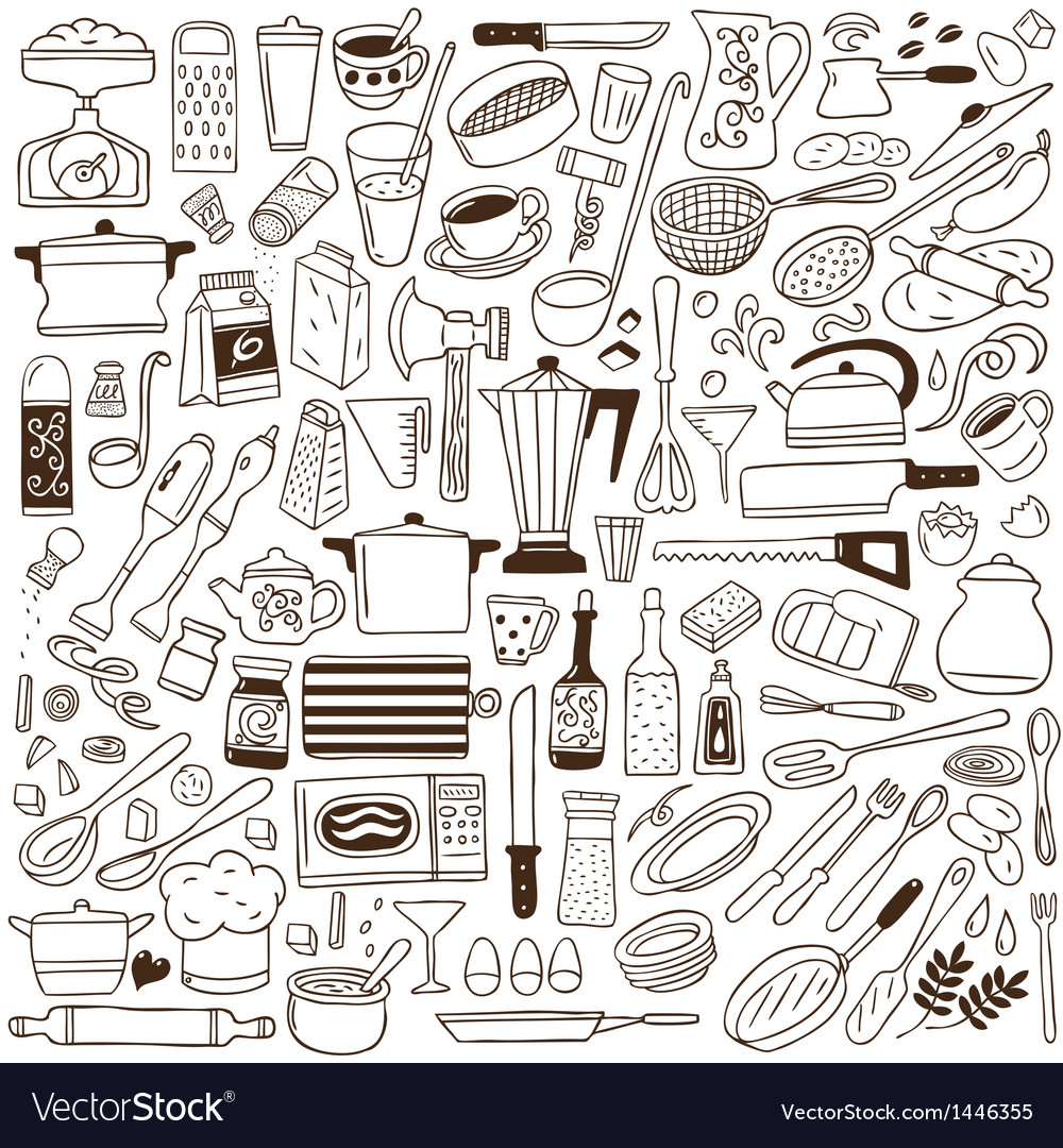 Kitchen tools  doodles collection vector