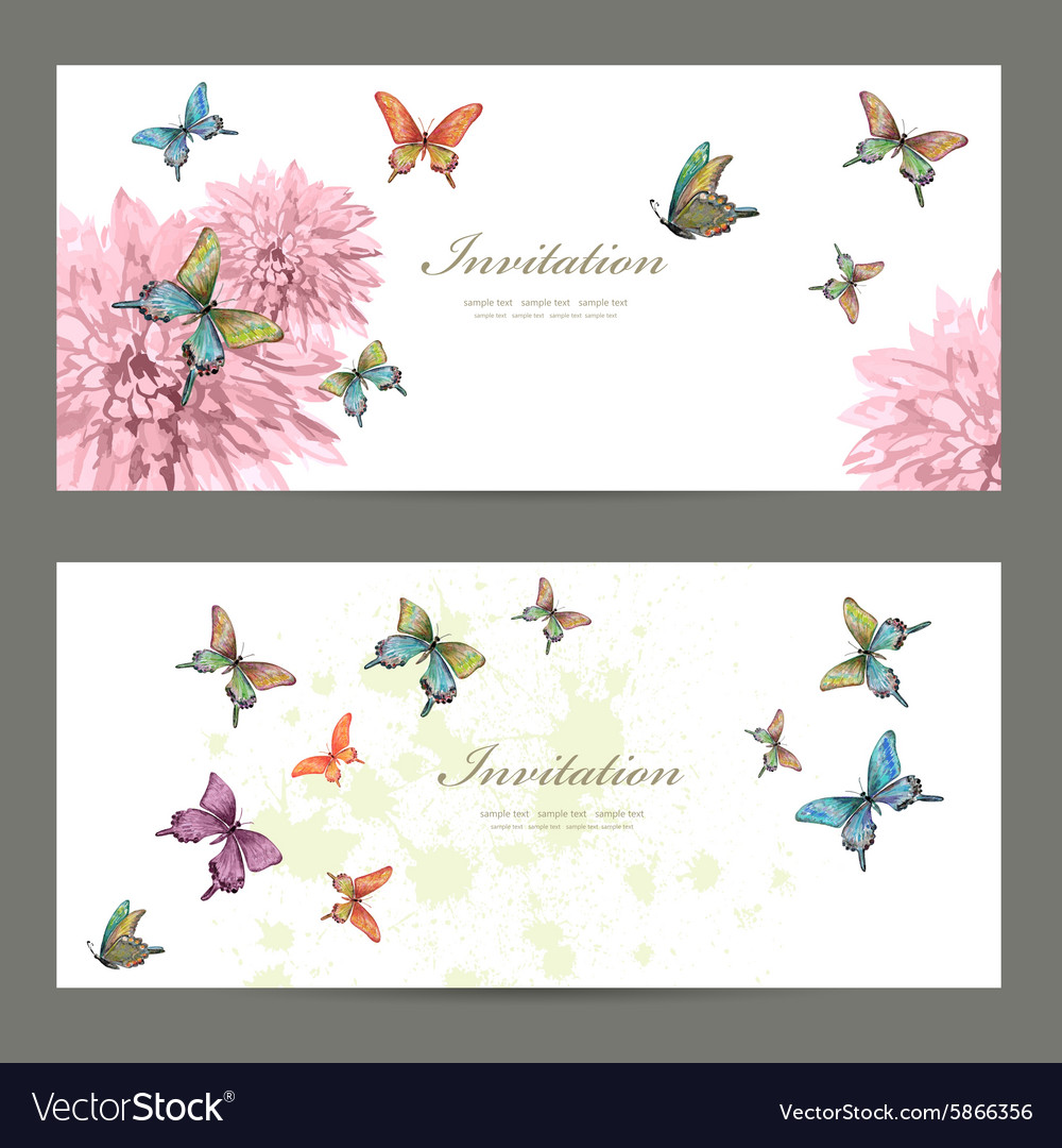 Collection invitation cards with butterflies vector