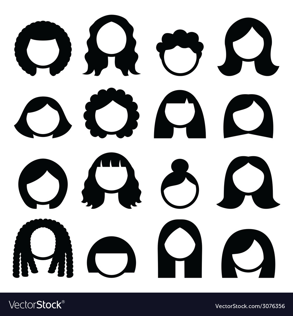 Hair styles wigs icons set  women vector