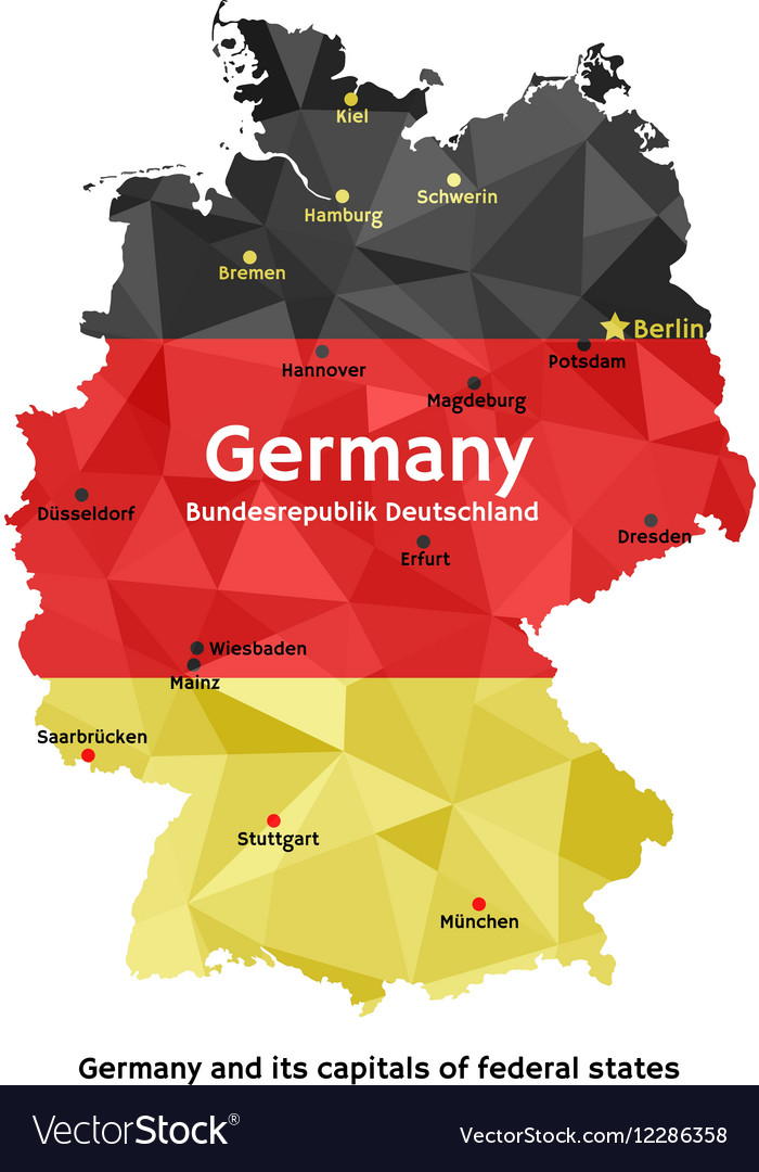 Map of germany  bundesrepublik deutschland vector