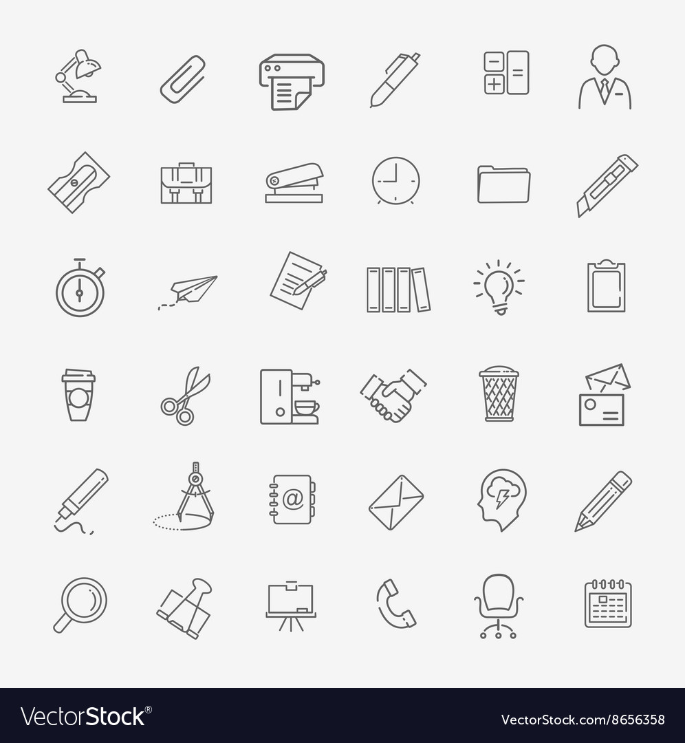 Outline web icon set  office vector