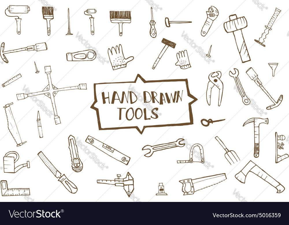 Hand drawn tool icons set vector