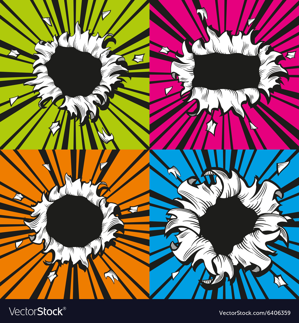 Holes set in comic book style vector
