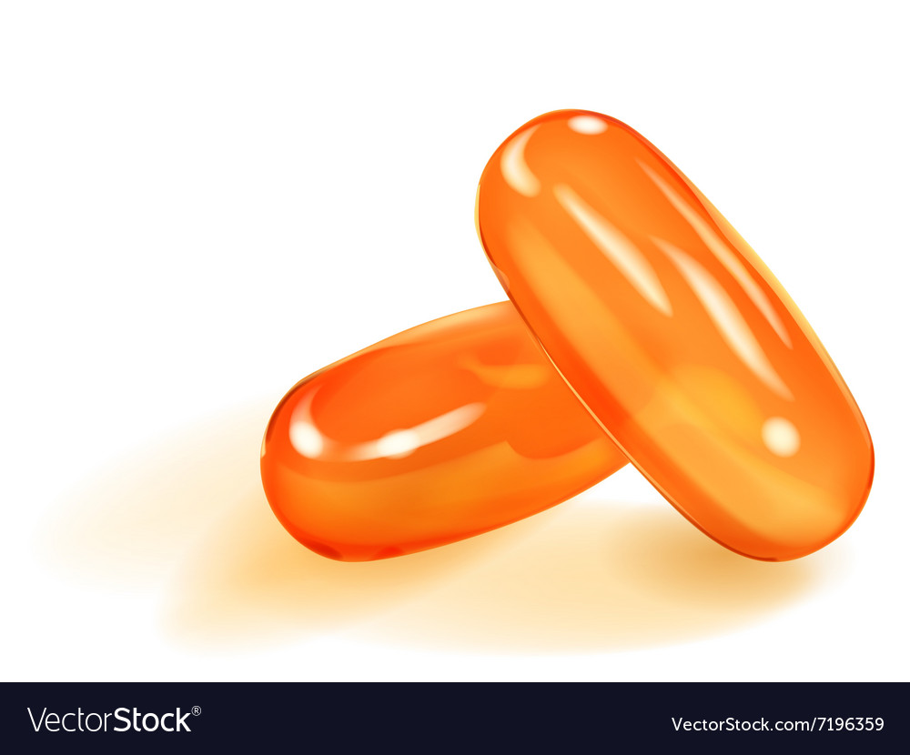 Two orange capsules vector