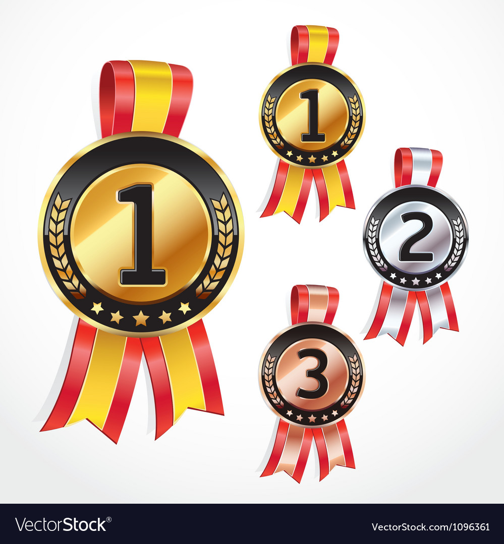 Set of medal numbers with ribbon vector