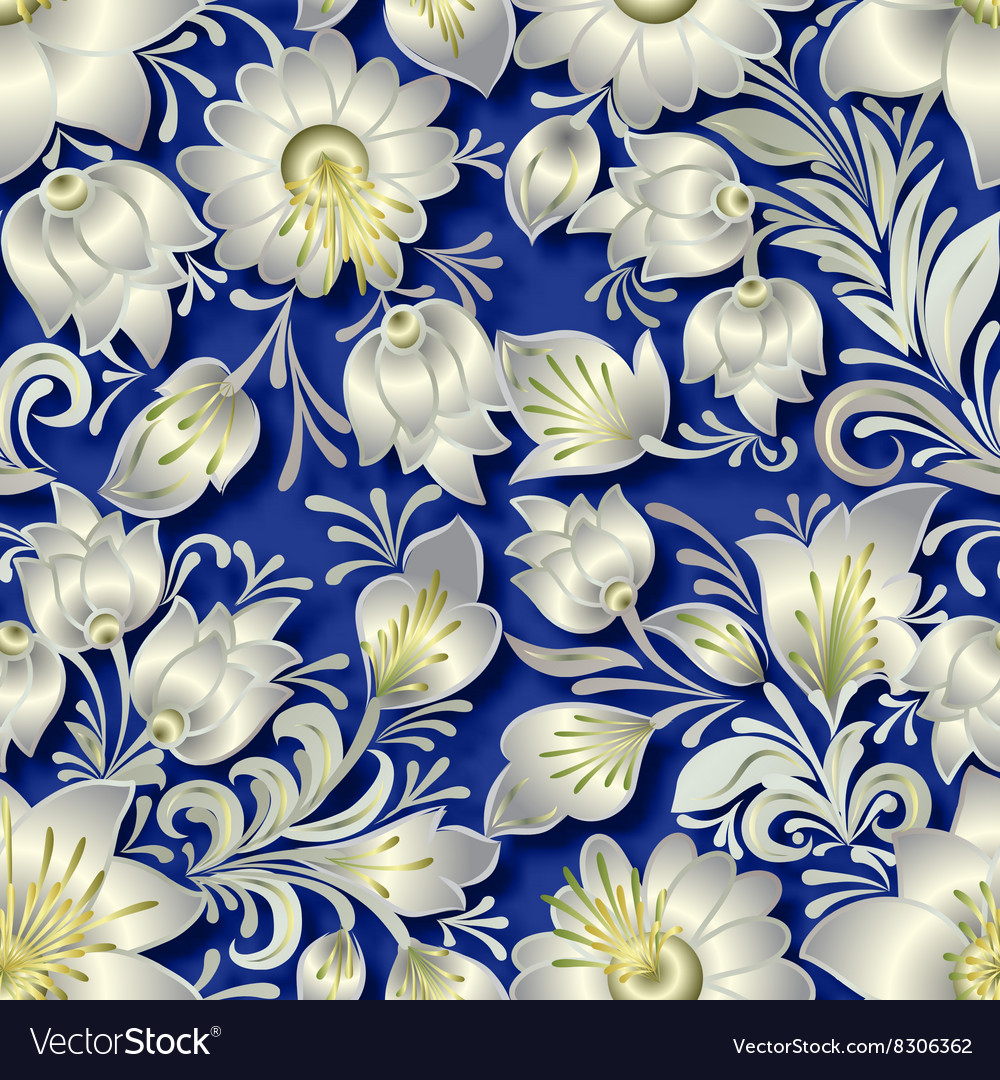 Seamless silver floral ornament on blue background vector