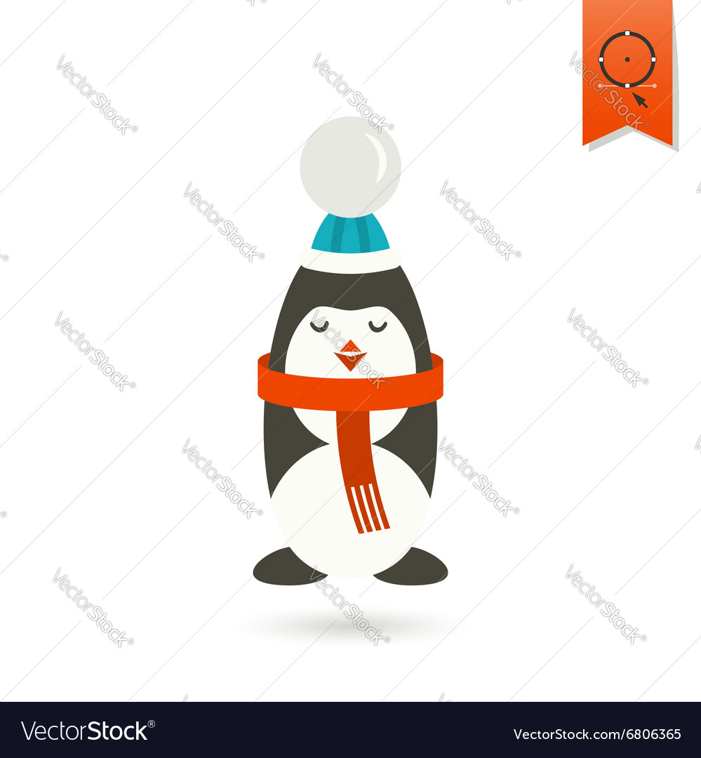Christmas penguin colorful vector