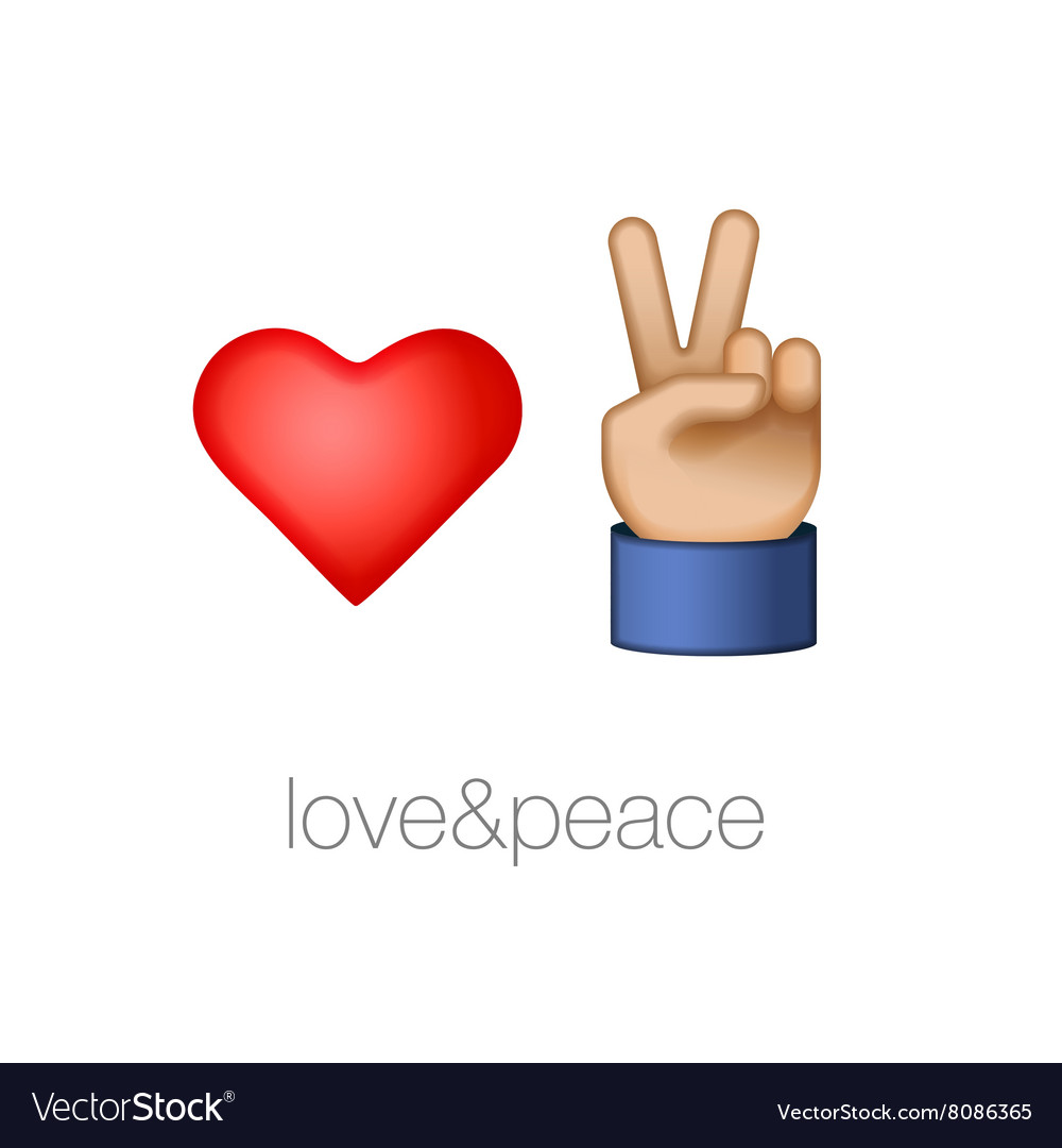 Love and peace icons vector