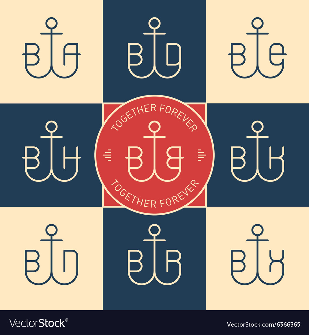 Monograms or logotype with anchor and letters line vector