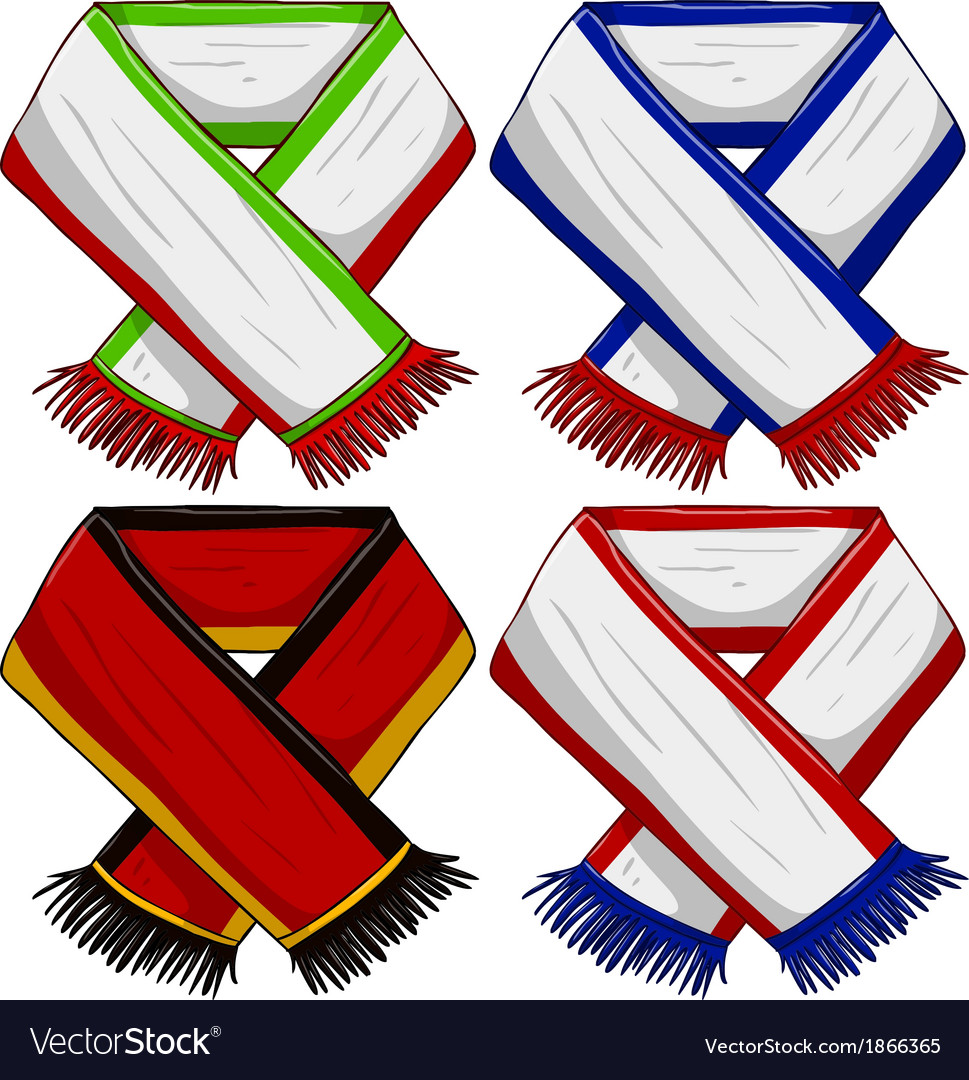 Sports team scarf pack 2 vector