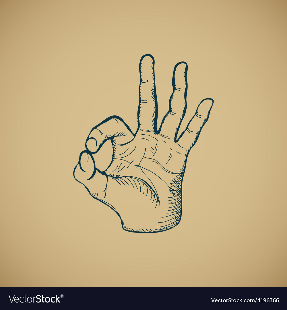 Hand draw sketch vintage okay hand sign vector