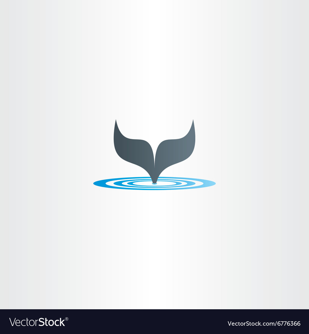 Water wave and whale fish tail logo vector