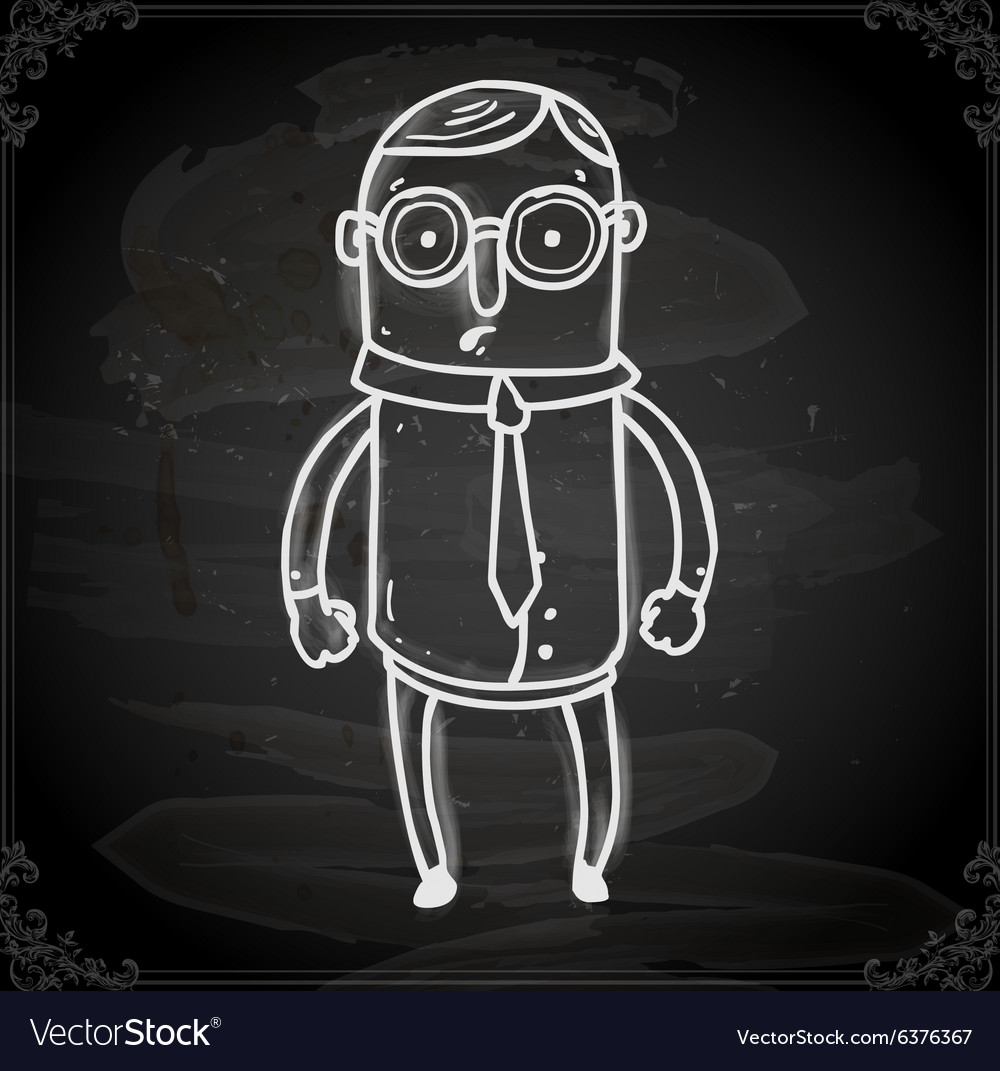 Business man drawing on chalk board vector