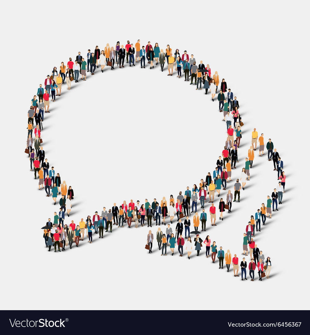Group people shape chat bubbles vector