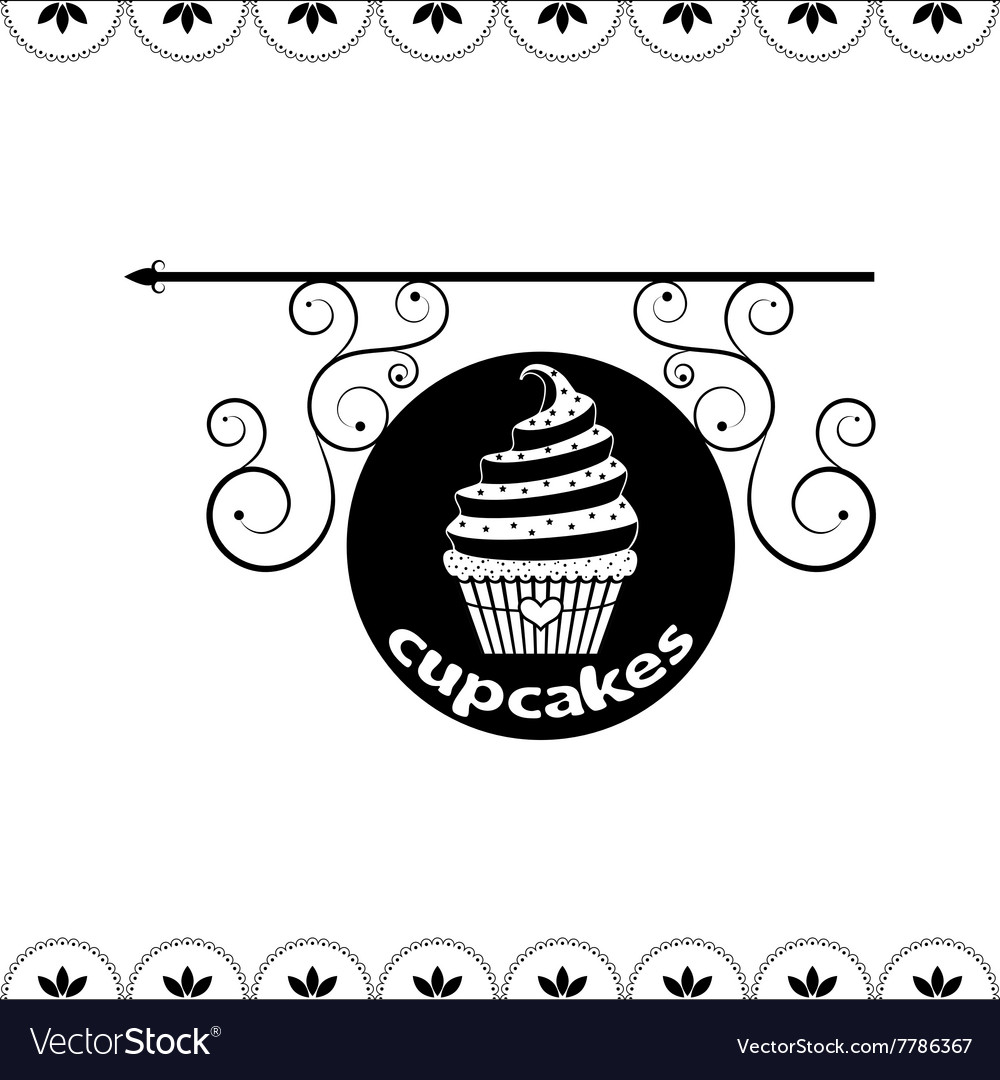 Signboard of tasty cupcakes for holidays and parti vector