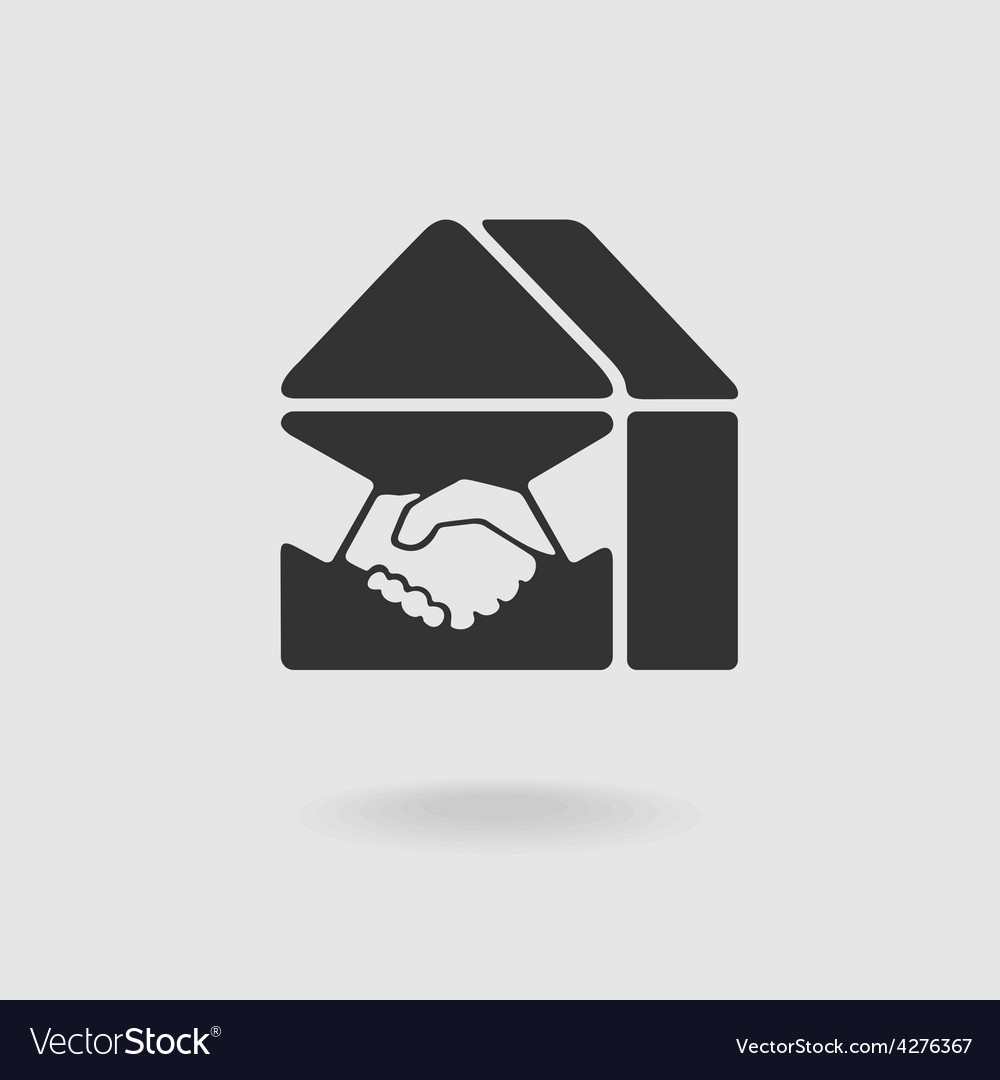 Symbol handshake and real estate vector