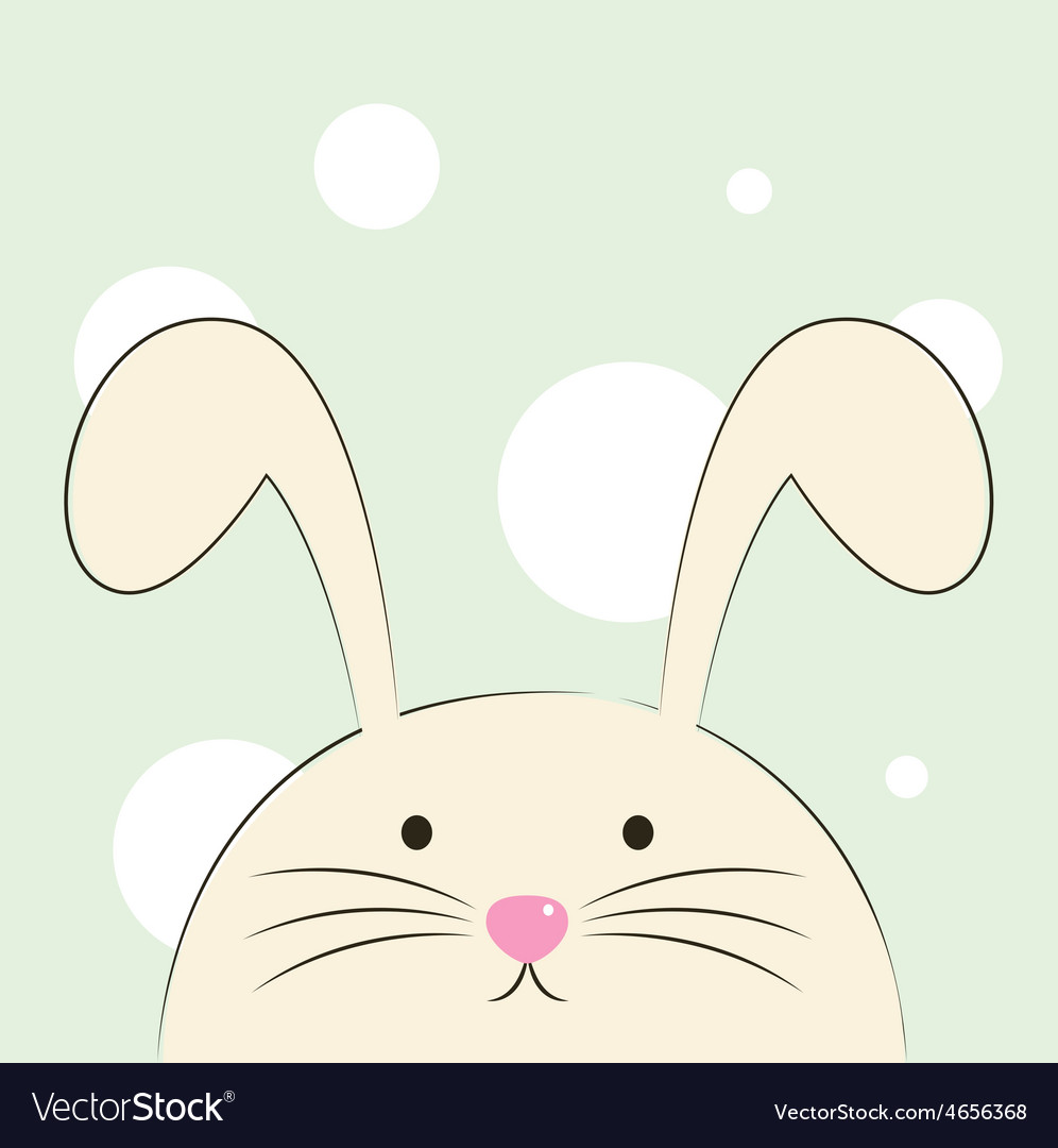 Cute beautiful easter bunny isolated on green back vector