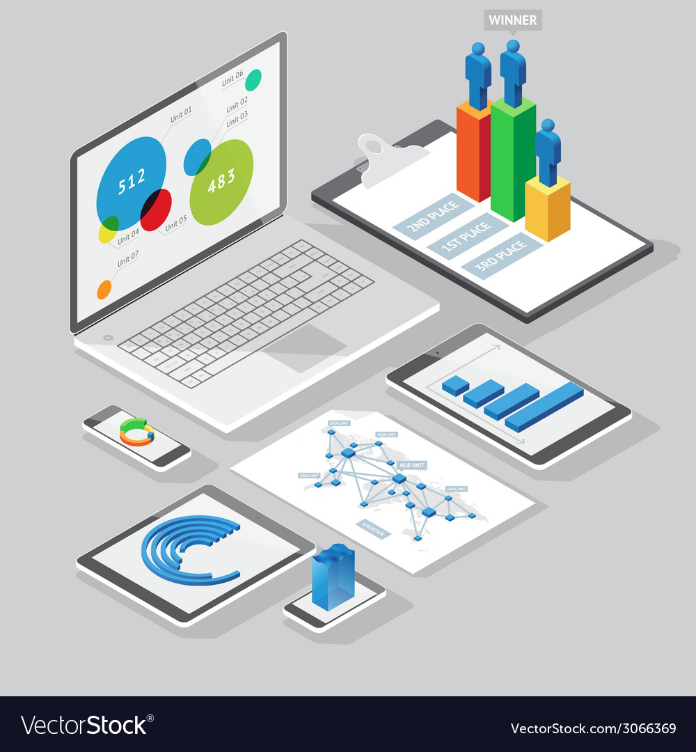 Computer infographics design elements vector
