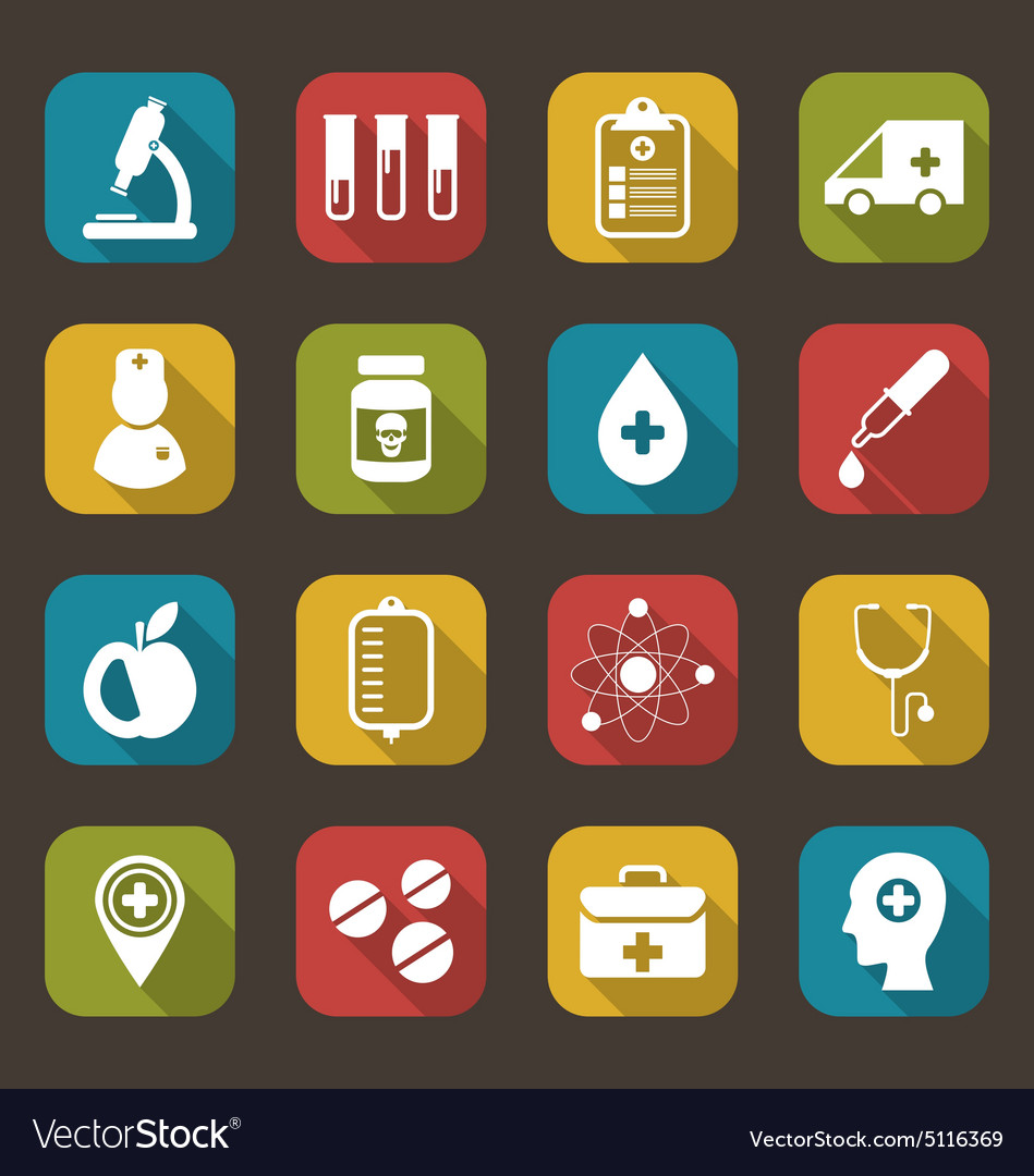 Trendy flat icons of medical elements vector