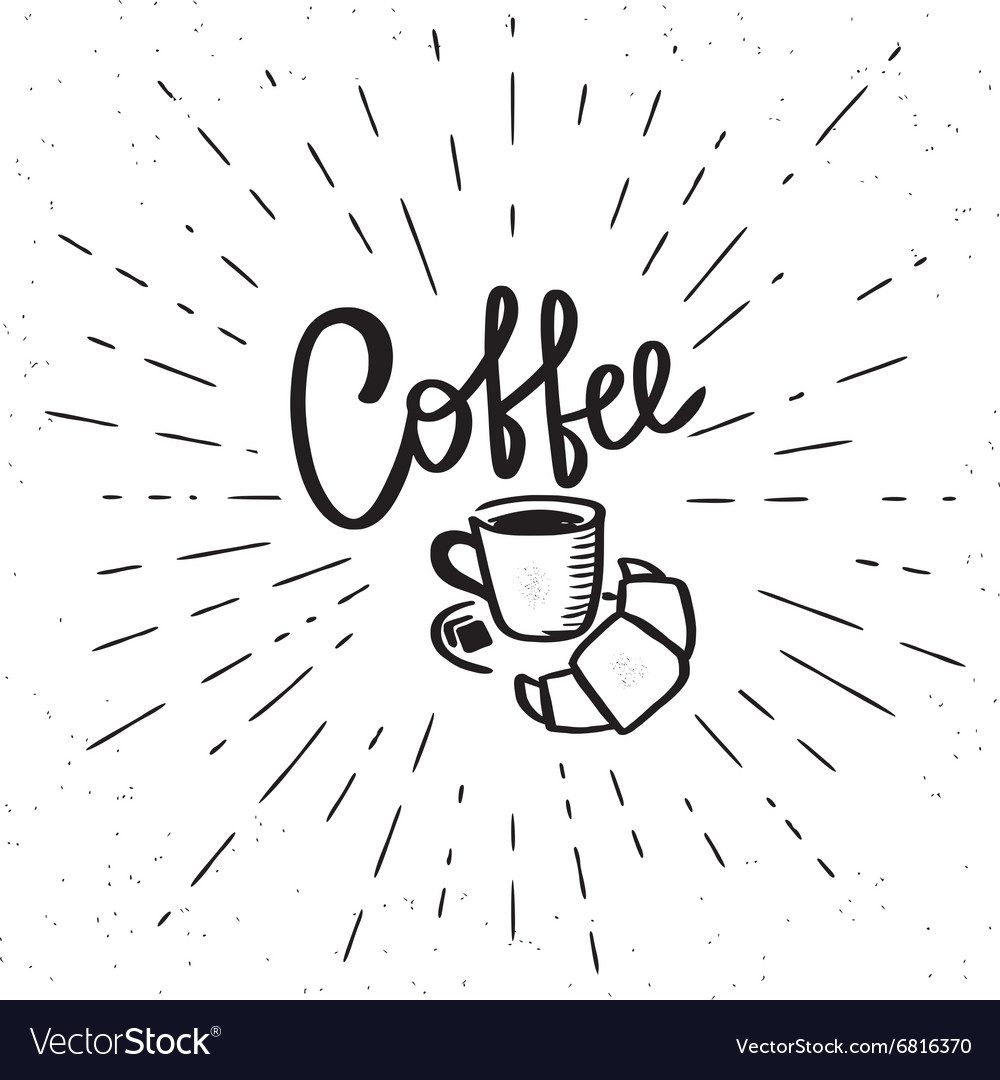 Coffee cup and croissant vector