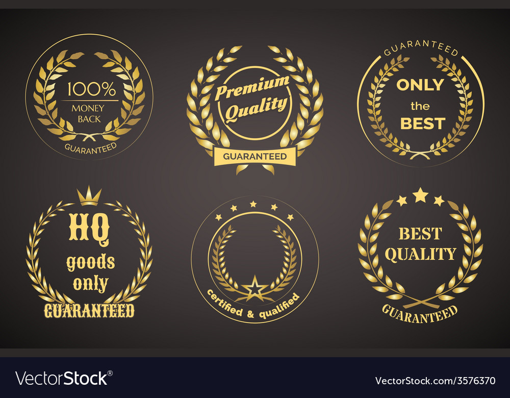 Retro guarantee labels with wreaths vector
