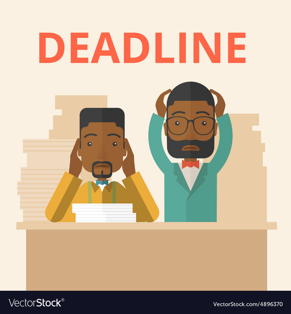 Two stressed africanamerican employees vector