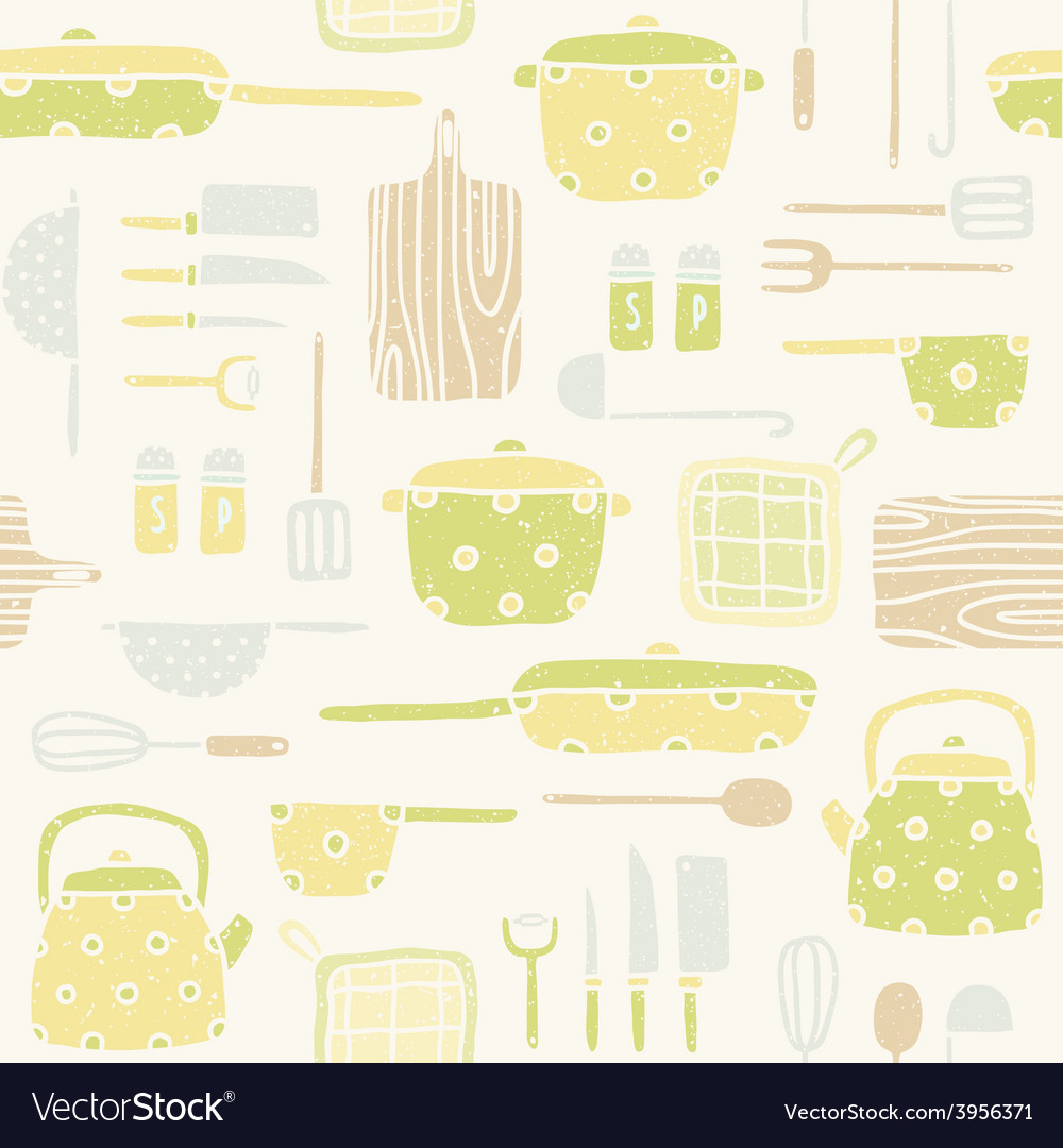 Kitchen utensils pattern vector
