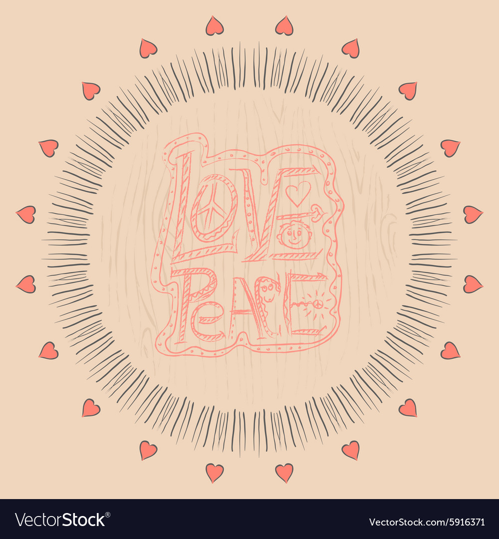 Mandala love and peace vector