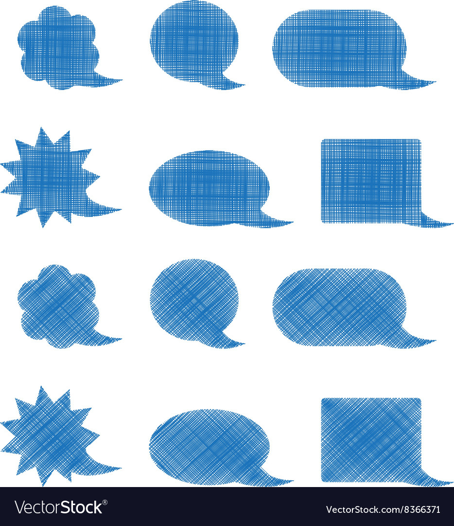 Set of blank blue shaded bubbles of various shapes vector