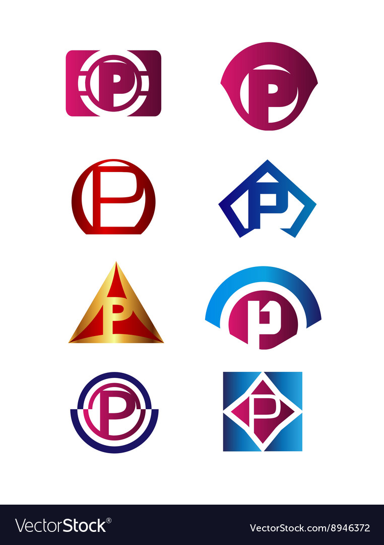 Set of letter p logo branding identity corporate vector