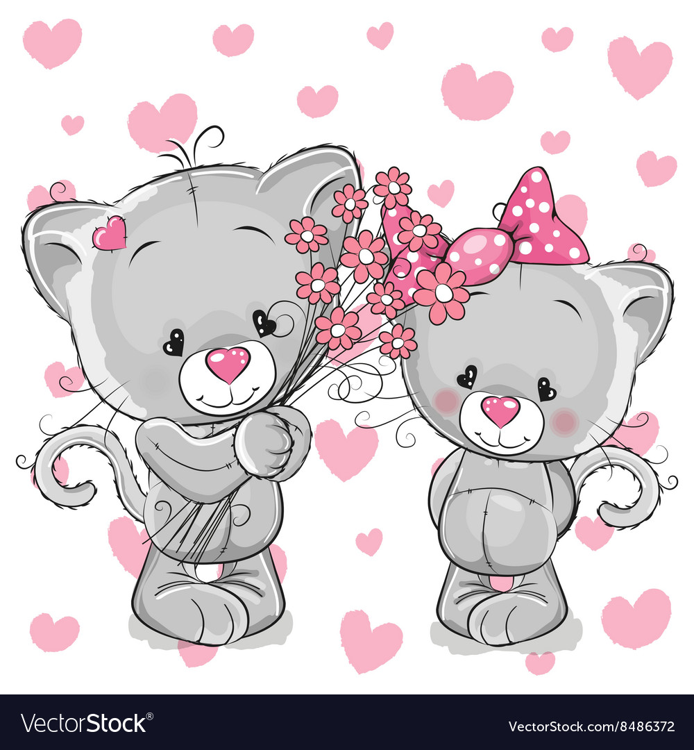 Two kittens vector