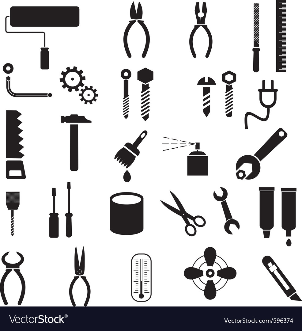 Hand tool icons vector